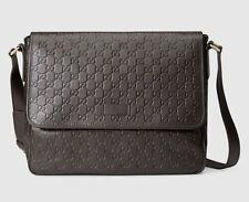 Gucci Men's Guccissima Leather Messenger Bag, Cocoa, MSRP $1,350