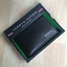 Tommy Hilfiger Men's Black Genuine Leather Passcase Bifold Wallet