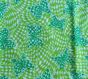 2.40 yds Bandanna Butters Pell Key West Hand Print Green Vtg Fabric Butterflies