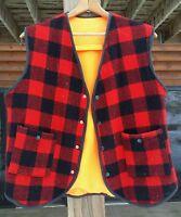 Vintage Wool Plaid Reversible Hunting Vest Zero Wear Outdoorsman Lumberjack Lg