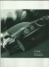 JAGUAR S-TYPE 3.0 V6, 3.0 V6 SE & 4.0 V8  PRICE LIST SALES BROCHURE SEPT. 2000