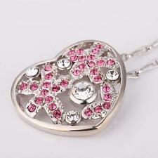 Elegant Luxury Style 18k White Gold Filled Heart Crystals Pendant  Necklace N459