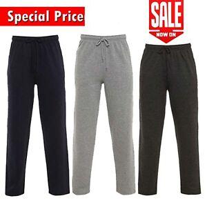 Men's Casual Plain Joggers Bottoms Open Hem Sweatpants Pockets