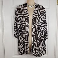 CHICO'S Size 1 = Medium Brown White Open Cardigan Drape Short Sleeve Sweater Top