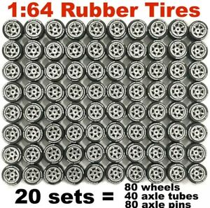 1:64 Rubber Tyres - 6-Spoke Silver 11mm - fit Hot Wheels toy cars - 20 sets