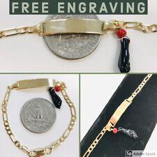 18k Gold Plated Azabache , Baby ID Bracelet Free Engraving, Pulsera para Bebe