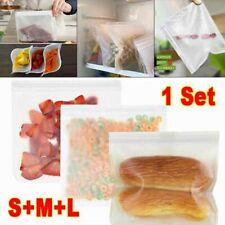 3PCS Kitchen Fresh Zip lock Bag Reusable Silicone Food Freezer Storage Ziplock