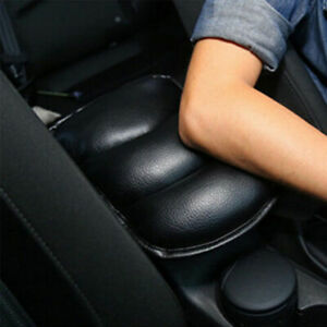 Black PU Leather Center Box Armrest Console Soft Pad Cushion Cover Universal Fit