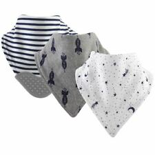 Yoga Sprout Boy and Girl Bandana Bib with Teether, 3 Pack, Moon