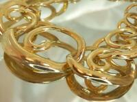 Vintage 80's Modernist Shiny Gold Tone Very Pretty 18-Inch Classy Necklace 648M0