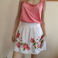 Be Beau white skirt with floral embroidery Size 12