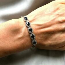 8.48 ct Oval Blue Sapphire & Simulated Diamond Halo Bracelet in 925 Silver