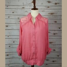 New MINE TOO sz 3XL coral lace shoulder collar button down roll up sleeves shirt