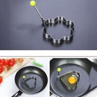 2 Shape Pancake Mould Ring Cooking Fried Egg Mould Shaper Kitchen Tool Silver