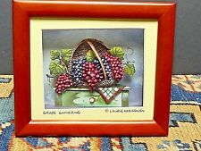 "Laurie Korsgaden ""Grape Gathering"" Shadow Box 5 1/2 ''X 5''"
