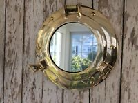 "9"" Brass Porthole Mirror ~ Nautical Maritime Wall Decor ~ Ship Cabin Window"