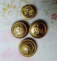 LOT of 4 Nautical Anchor Blazer Coat Buttons Metal Uniform 2 Waterbury Gold Tone