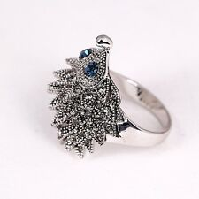 Fashion Antique Silver Hedgehog Lucky Rings for Women Wedding Party Jewelry v