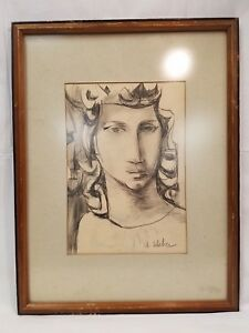 Vintage Original Pencil Drawing of a Woman by A. Weber