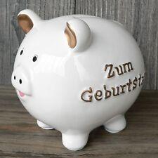Sparschwein zum Geburtstag weiß 15cm Spardose mit Schlüssel Geldgeschenk Keramik