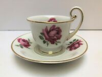 Vintage Thomas of Bavaria Fine China Footed Tea Cup & Saucer Set with Rose Deco