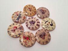 20 ROUND WOOD STEAM PUNK VINTAGE CLOCK DESIGN 20mm BUTTONS FOR ART & SCRAP BOOKS