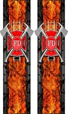 FireFighter Maltese Cross Flames Truck Bed Band Stripes Decal Sticker Graphics