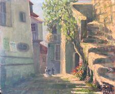 Eze Village de Provence Alpes-Maritimes peinture signée M Petetin 1932