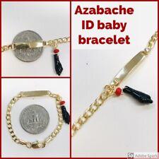 New 18k Gold Plated Azabache, Baby ID Bracelet Free Engraving, Pulsera para Bebe