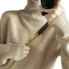 Ladies Women Faux Cashmere Warm Sweater Winter Casual High Neck Pullovers Chic B