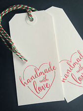 10 LARGE HANDMADE WITH LOVE CHRISTMAS  HEART TAGS LABELS WHITE OR MANILLA