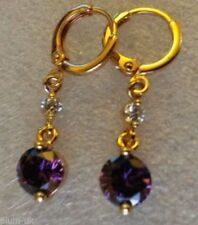 Leverback Drop/Dangle Amethyst Fine Earrings