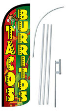 TACOS BURRITOS Flag Kit 3' Wide Windless Swooper Feather Advertising Sign