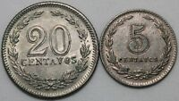 Argentina 20 & 5 Centavos Coins   Cupro-Nickel   Bulk Coins   KM Coins