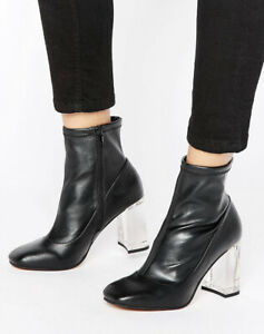 ASOS CLEAR HEEL ANKLE SOCK BOOTS UK 5