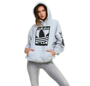 ADIDAS NEW TRENDY WOMEN'S UNISEX PULLOVER TREFOIL  FRONT PRINTED ADIDAS HOODIE
