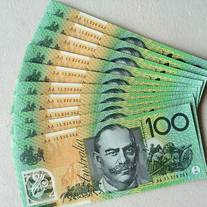 10 x $100 notes AA consecutive
