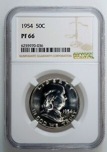 1954 50c FRANKLIN HALF DOLLAR PROOF NGC CERTIFIED PF 66 Philadelphia Mint Coin