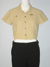 CALVIN KLEIN JEANS Size L Yellow Short  Sleeve Blouse
