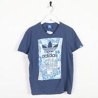 Vintage ADIDAS ORIGINALS Big Graphic Logo T Shirt Tee Blue | Small S