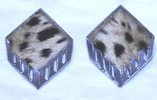 vintage EARRINGS ART DECO Leopard Tiger Animal Print Clip-On FURRY/SOFT-1 6/16""