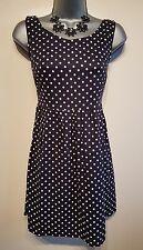 Size 6 Dress H&M Navy Blue White Polkadot Excellent Condition Women's Summer