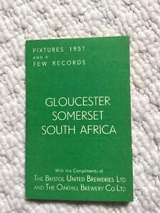 Somerset, Gloucestershire & S. Africa Fixture List 1951