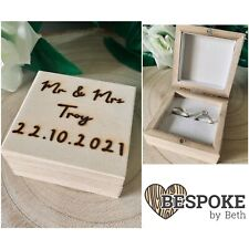 Custom Hand Engraved Double Wedding Ring Box Any Text Ring Bearer Ring Storage
