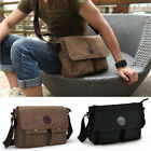 Mens Boys Vintage Canvas Leather Satchel School Military Shoulder Messenger Bags