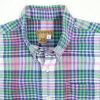 Vtg Ruff Hewn Madras Shirt Mens size LARGE Vivid Island Summer Plaid Long Sleeve