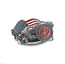 US Marine Corps American Hero USA Flag Eagle Metal Belt Buckle