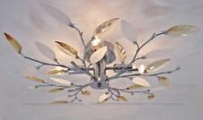 Flush Fit 4 Arm Bulb Leaf Ceiling Light Lamp Fitting Chandelier Chrome Amber