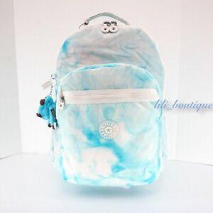 NWT Kipling KI1315 Seoul XL Backpack Laptop Travel Bag Nylon Beach Tie-Dye Multi