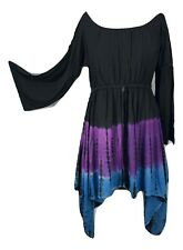 Tie Dye Plus Size Dress Pixie Full Sleeve Empire Waist Gothic Black Blue Purple